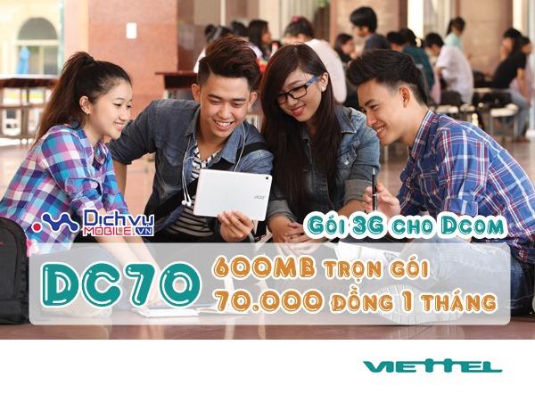 Truy cập 3G không giới hạn trên Dcom với gói DC70 Viettel