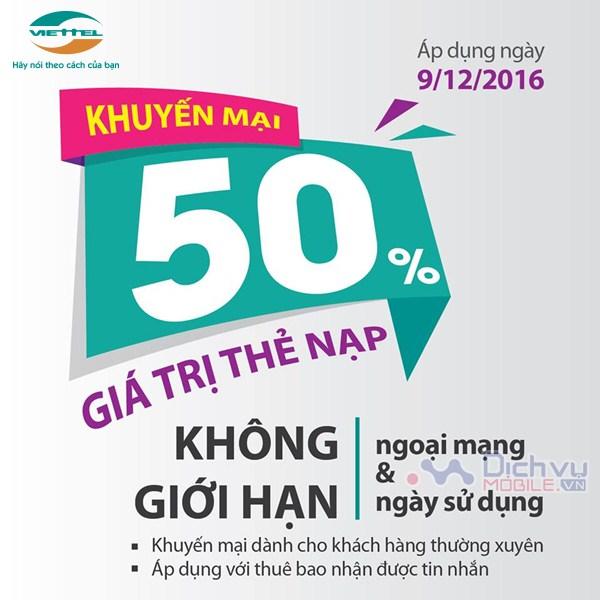 Viettel khuyến mãi 50% giá trị thẻ nạp ngày 9/12/2016