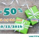 Viettel khuyến mãi 50% giá trị thẻ nạp theo danh sách ngày 30/12/2016