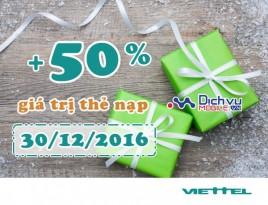 Viettel tặng 50% giá trị thẻ nạp theo danh sách ngày 30/12