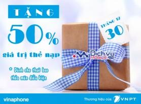 Vinaphone khuyến mãi 50% giá trị thẻ nạp ngày 30/12/2016