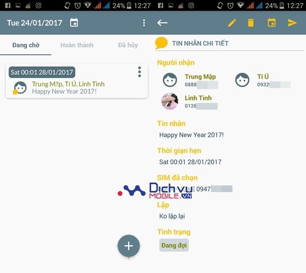 Cách hẹn giờ nhắn tin chúc Tết trên thiết bị Android