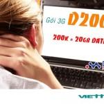 Đăng ký gói D200 Viettel sim 3G có ngay 20GB data tốc độ cao
