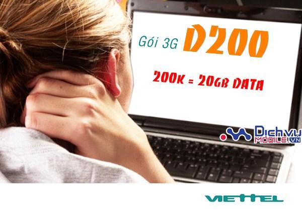 Cách nhận 20GB data tốc độ cao từ gói 3G D200 mạng Viettel