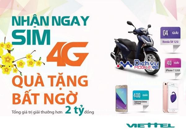 """""""Nhận SIM 4G – Quà tặng bất ngờ"""" cùng Viettel"""