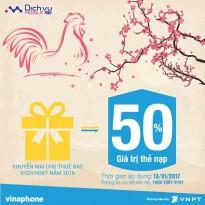 Vinaphone khuyến mãi 50% giá trị thẻ nạp ngày 13/1/2017
