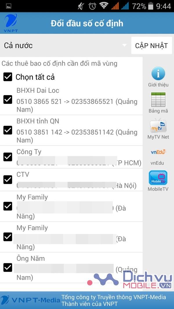 Hướng dẫn cập nhật mã vùng đện thoại mới với ứng dụng VNPT Update Contacts