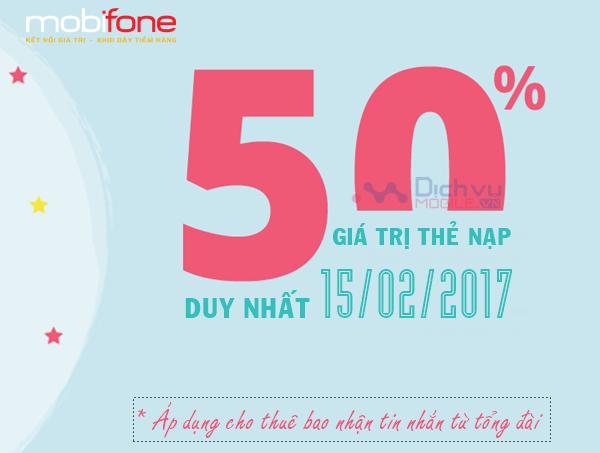 Khuyến mãi 50% nạp thẻ Mobifone ngày 15/2/2017
