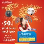 Mobifone khuyến mãi 50% giá trị thẻ nạp khi cài đặt Witalk ngày 8/3/2017