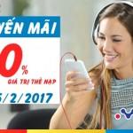 Mobifone khuyến mãi tặng 50% giá trị thẻ nạp ngày 25/2/2017