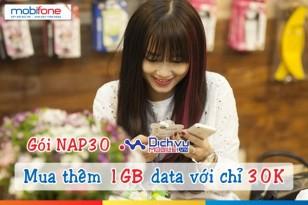 Mua thêm 1GB data chỉ 30.000đ với gói NAP30 Mobifone