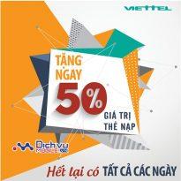 Viettel khuyến mãi 50% giá trị thẻ nạp theo danh sách