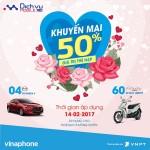 Vinaphone khuyến mãi 50% giá trị thẻ nạp ngày lễ tình nhân 14/2/2017