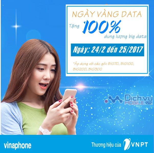 Vinaphone khuyến mãi NHÂN ĐÔI dung lượng các gói 3G BIG ngày 24-25/2/2017