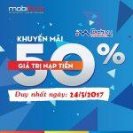 Mobifone khuyến mãi 50% thẻ nạp ngày 24/3/2017