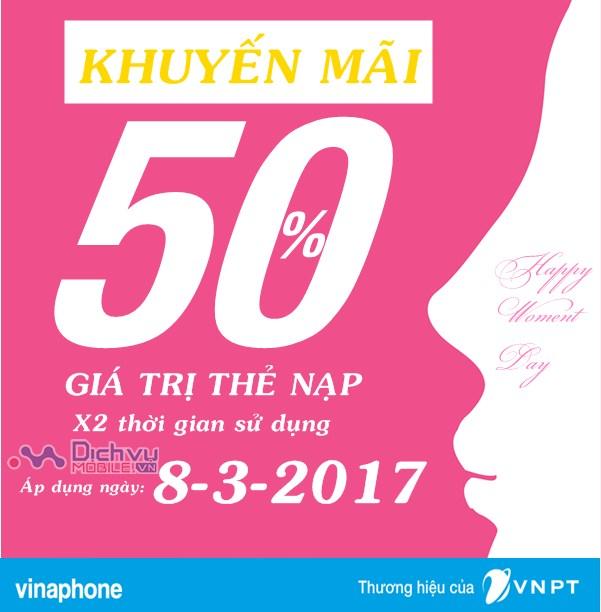 Mừng ngày quốc tế phụ nữ Vinaphone khuyến mãi 50% giá trị thẻ nạp ngày vàng 8-3-2017