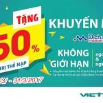 Viettel khuyến mãi tặng 50% giá trị thẻ nạp từ ngày 4/3 đến 31/3/2017