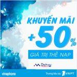 Vinaphone khuyến mãi tặng 50% giá trị thẻ nạp ngày 7/4/2017