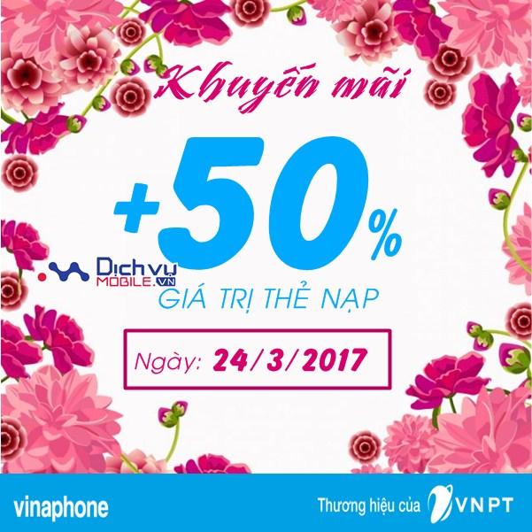 Vinaphone khuyến mãi 50% giá trị thẻ nạp ngày vàng 24/3/2017