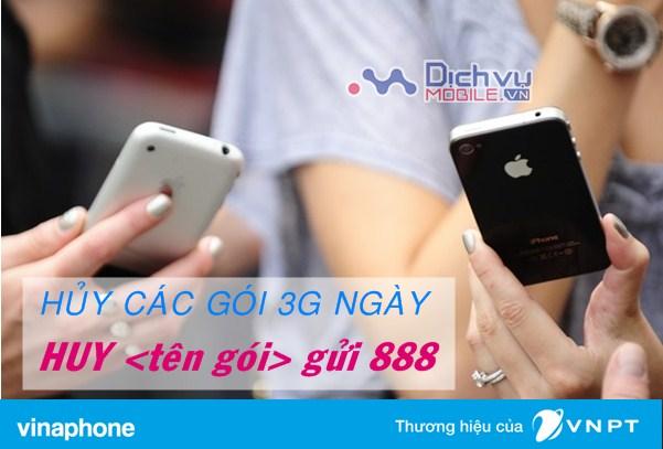 Hướng dẫn hủy các gói 3G ngày mạng Vinaphone
