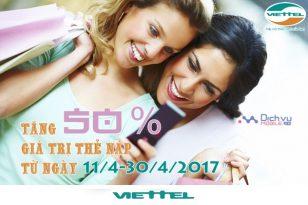 Khuyến mãi nạp thẻ Viettel ngày ngày 14/4 đến 30/4/2017