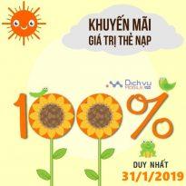 Vietnamobile khuyến mãi 100% giá trị thẻ nạp ngày 31/1/2019