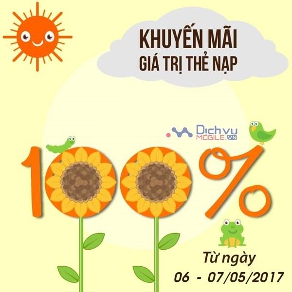Vietnamobile khuyến mãi 100% giá trị thẻ nạp ngày 6/5 và 7/5/2017