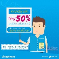 Khuyến mãi giảm 50% cước đăng ký Big70 và Big100 Vinaphone từ 15/5 – 31/5