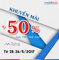 Khuyến mãi nạp thẻ Mobifone từ ngày 25 - 26/5/2017