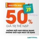 Khuyến mãi Viettel tặng 50% giá trị thẻ nạp trong ngày 29/5/2017