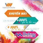 Vietnamobile khuyến mãi từ 100% đến 300% thẻ nạp ngày 13/5 và 14/5/2017