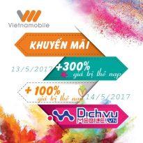Vietnamobile khuyến mãi 300% thẻ nạp ngày 13/5 và 100% thẻ nạp ngày 14/5/2017