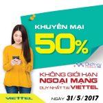 Viettel khuyến mãi tặng 50% giá trị thẻ nạp ngày vàng 31/5/2017