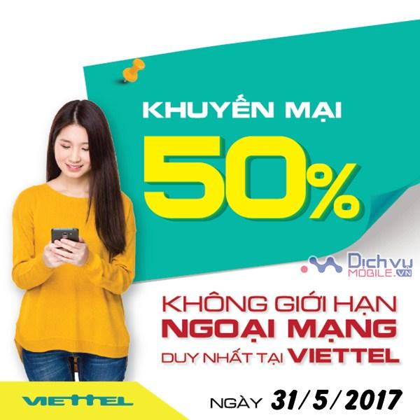 Viettel khuyến mãi 50% thẻ nạp ngày vàng 31/05/2017