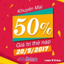 Viettel khuyến mãi 50% thẻ nạp ngày vàng toàn quốc 20/5/2017