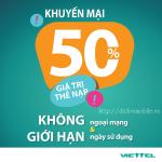 Viettel khuyến mãi 50% giá trị thẻ nạp từ ngày 13/5 – 31/5/2017