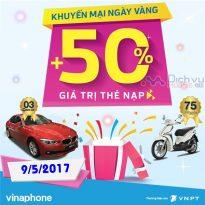 Khuyến mãi nạp thẻ Vinaphone ngày vàng 9/5/2017