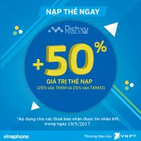 Khuyến mãi nạp thẻ Vinaphone cục bộ ngày 19/5/2017