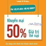 Viettel khuyến mãi 50% giá trị thẻ nạp từ ngày 13/6 đến 18/6/2017