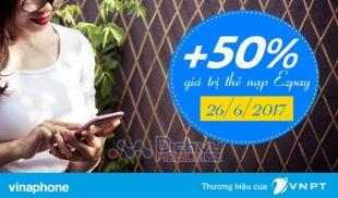 Vinaphone khuyến mãi 50% giá trị thẻ nạp qua tài khoản EZpay cho TB trả sau
