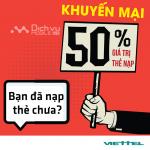 Viettel khuyến mãi tặng 50% mỗi thẻ nạp ngày vàng 20/6/2017