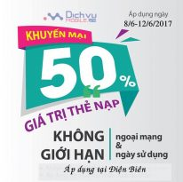Khuyến mãi 50% thẻ nạp Viettel từ ngày 8 - 12/6/2017
