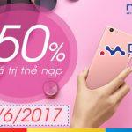 Khuyến mãi Mobifone ngày 9/6/2017 tặng 50% giá trị thẻ nạp