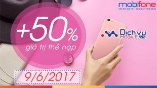 Mobifone khuyến mãi 50% giá trị thẻ nạp ngày 9/6/2017
