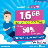 Vinaphone giảm 50% cước đăng ký gói BIG70 từ ngày 1/7 - 31/7/2017