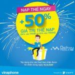 Vinaphone khuyến mãi tặng 50% thẻ nạp cục bộ ngày 30/06/2017