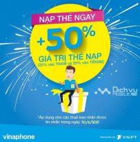 Khuyến mãi nạp thẻ Vinaphone cục bộ ngày 30/6/2017