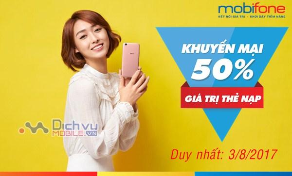 Mobifone KM 50% giá trị thẻ nạp ngày vàng toàn quốc 3/8/2017