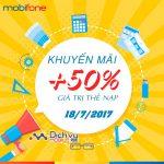 Mobifone khuyến mãi 50% giá trị thẻ nạp trong ngày 18/7/2017