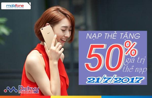 Mobifone KM 50% thẻ nạp toàn quốc ngày 21/7/2017